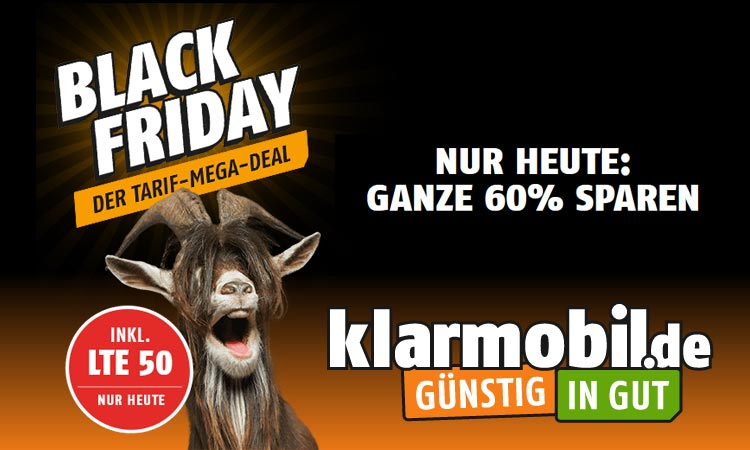 black friday bei klarmobil lte allnet flat nur 9 99 euro. Black Bedroom Furniture Sets. Home Design Ideas