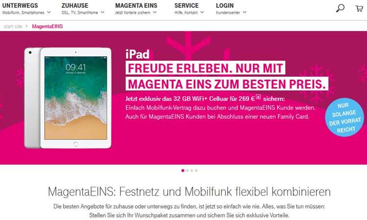 Telekom Magenta Eins Ipad Zum Halben Preis Für Neukunden