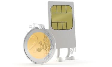 SIM-Karte und Euro-Münze