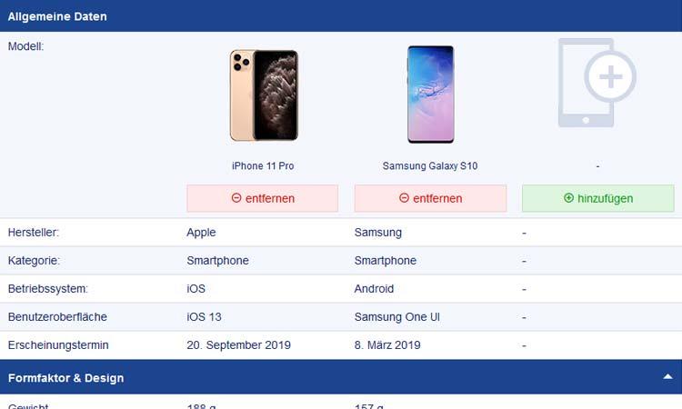 Ausschnitt: SmartWeb Handyvergleich