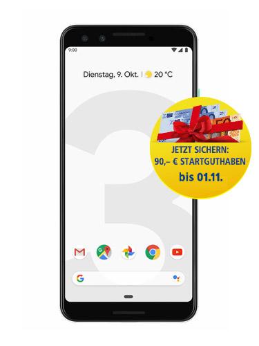 Google Pixel 3 mit 90 Euro Startguthaben