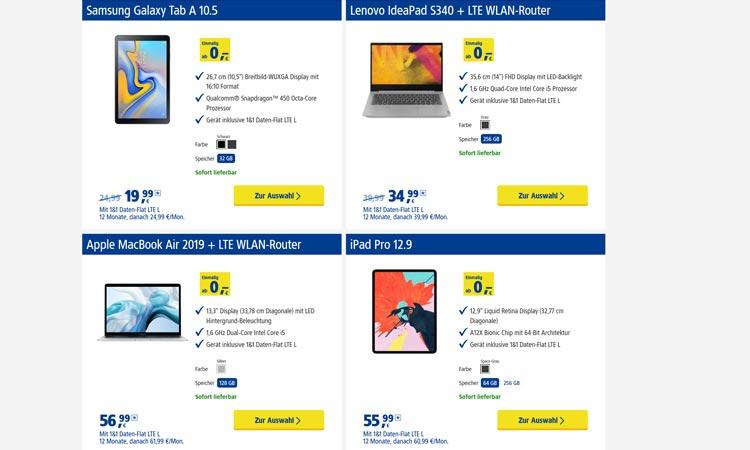 Tablets zur 1&1 Daten-Flat M (Auswahl)
