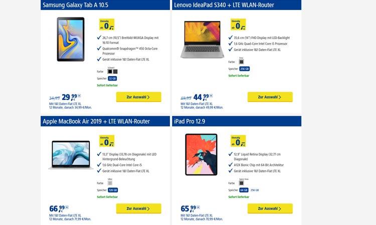 Tablets zur 1&1 Daten-Flat XL (Auswahl)
