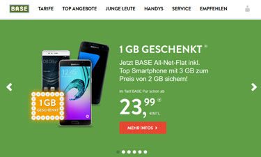 Screenshot Base Online-Shop