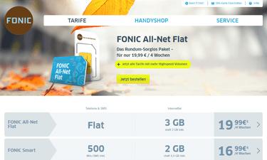 Screenshot: Fonic Online-Shop mit Fonic Tarifen