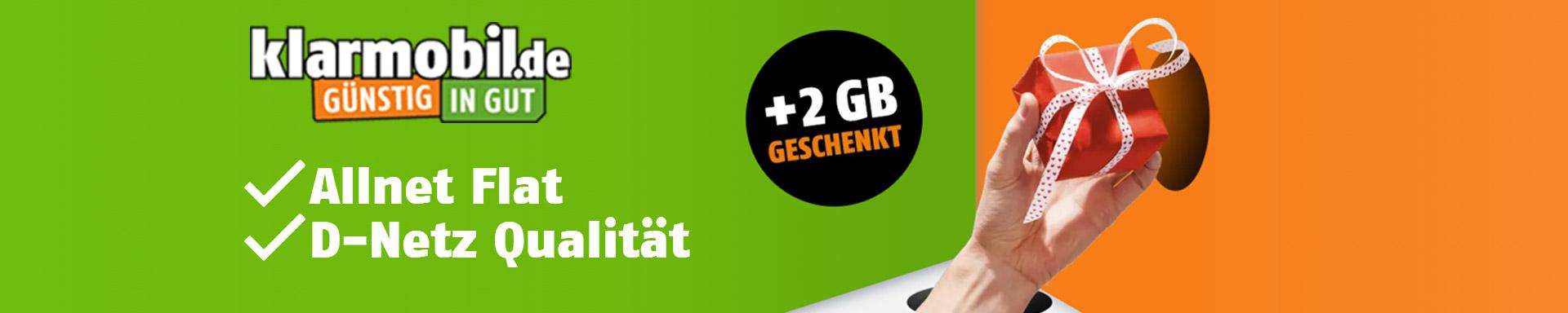 Klarmobil Allnet Flats: 2 GB Datenvolumen geschenkt
