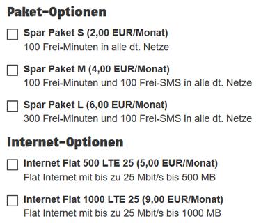 Optionen für Klarmobil Handy-Spar-Tarif