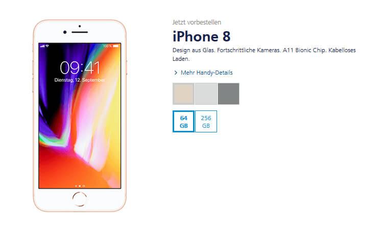 iPhone 8 bei o2: erhältlich mit 64 GB oder 256 GB und in den Farben Spacegrau, Gold, Silber