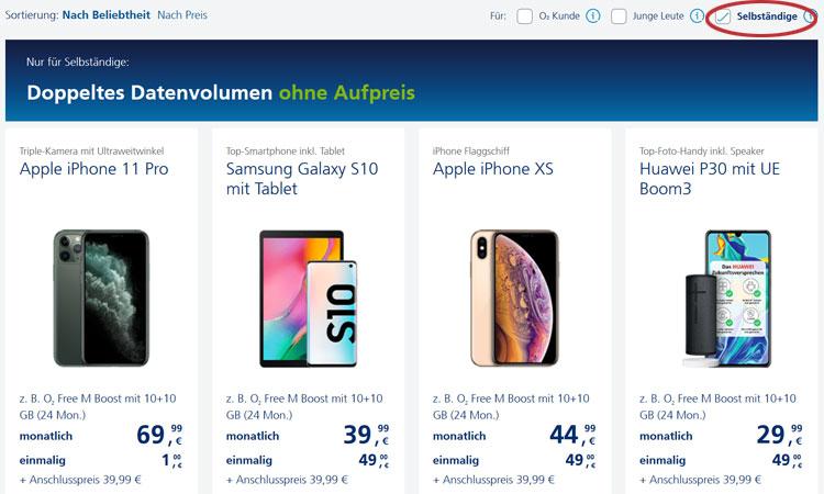 o2 Free für Selbständige Smartphones