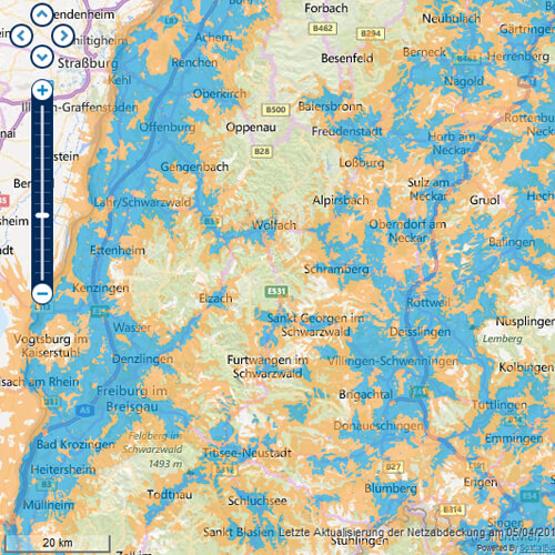 UMTS-Netzabdeckung von o2 im Schwarzwald
