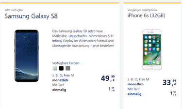 Screenshot o2 Online-Shop Handy Angebote