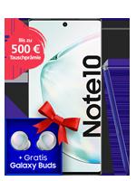 Samsung Galaxy Note 10 mit Galaxy Buds bei o2