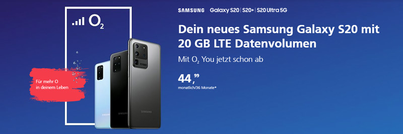 Samsung Galaxy S20 bei o2
