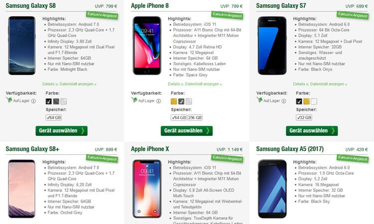 Screenshot: Smartmobil Handyshop