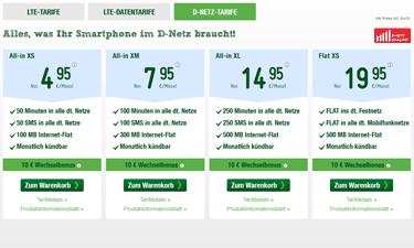 Screenshot: Smartmobil D-Netz Tarife