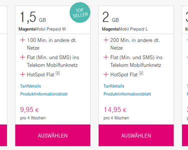 Screenshot: MagentaMobil Start Tarife