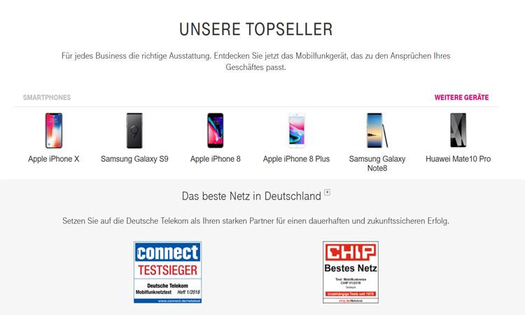 Telekom Business Mobil Smartphones - Geräte und Preise im