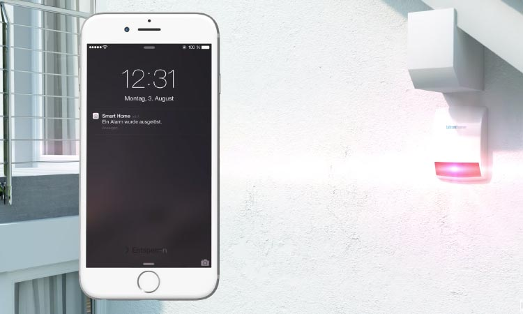 Bewegung erkannt - Alarm wird ausgelöst im Telekom Smart Home