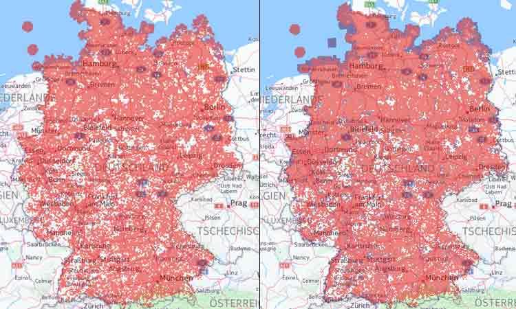 Vodafone: LTE Netzabdeckung (links) / Netzabdeckung bei LTE und UMTS  kombiniert (rechts)