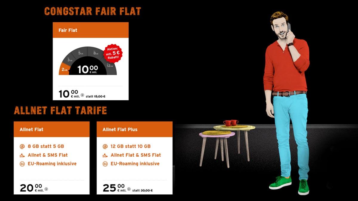 congstar Aktion: Günstigerer Preis für Fair Flat und mehr Volumen bei Allnet Flat und Allnet Flat Plus