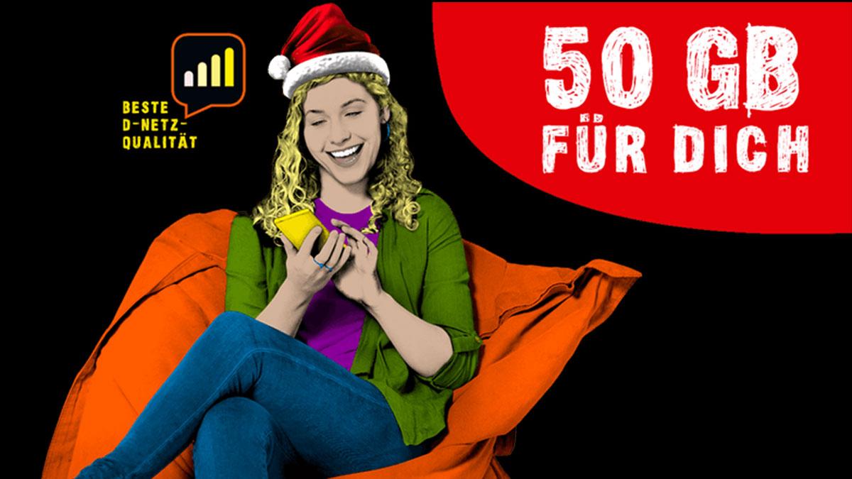 congstar Weihnachtsaktion mit einmalig 50 GB Extra-Datenvolumen bei allen Prepaid Tarifen