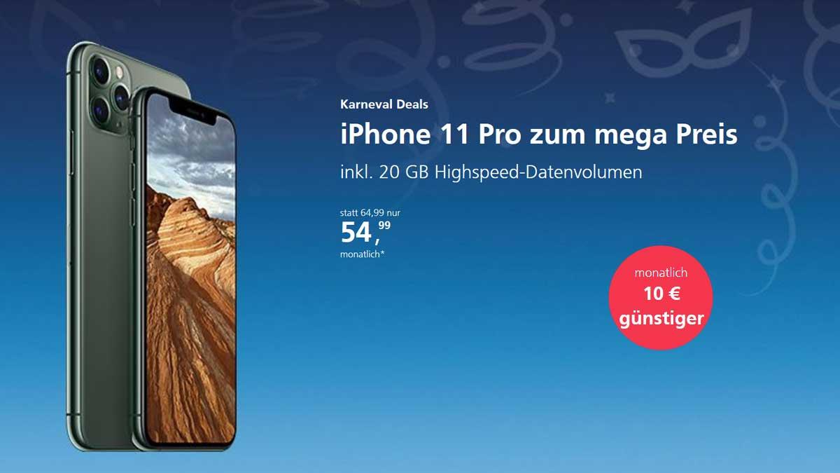 Karneval Deals bei o2: iPhone 11 Pro mit 20 GB LTE für 54,99