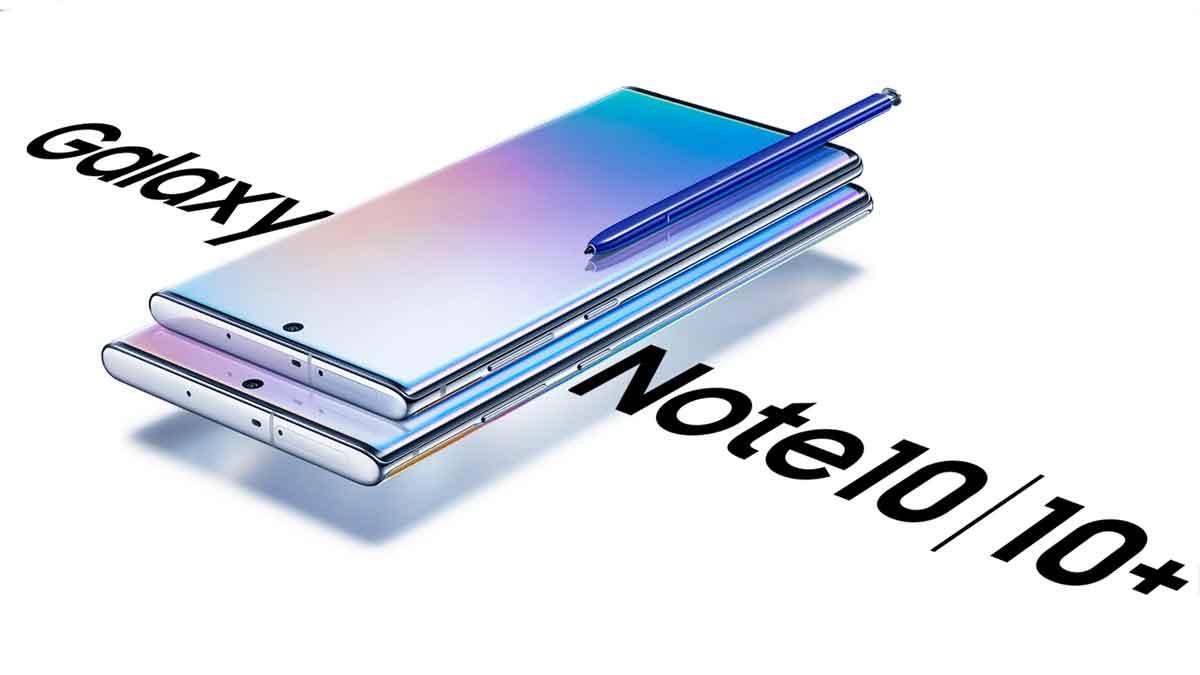 Galaxy Note 10 Handy mit Schriftzug