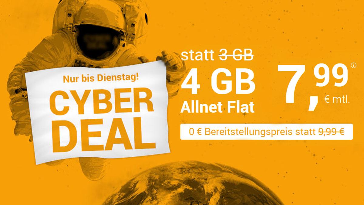 winSIM Cyber Deal LTE All 3 GB + 1 GB extra für 7,99 €