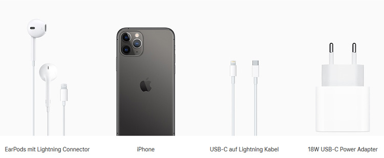 Lieferumfang iPhone 11 Pro und iPhone 11 Pro Max