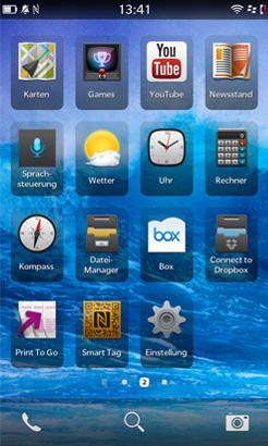 Blackberry Z10 App-Menü