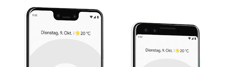 Google Pixel 3 XL und Pixel 3 mit und ohne Notch