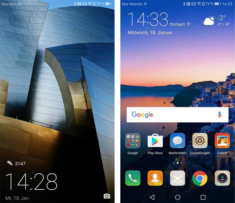 Huawei Mate 9 Sperrbildschirm und Homescreen