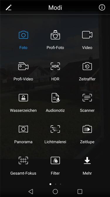 Kamera-Menü Huawei P10 Lite