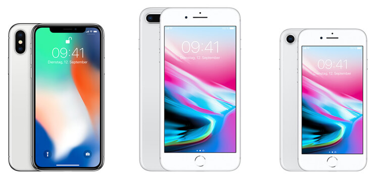 iPhone X, iPhone 8 Plus und iPhone 8 im Vergleich
