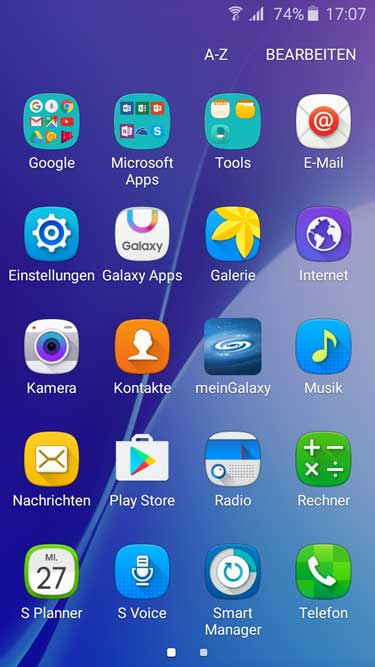 Samsung Galaxy A3 Menü