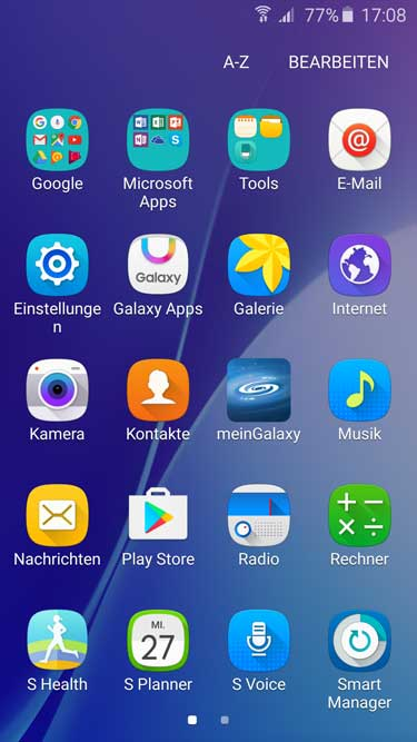 Samsung Galaxy A5 Menü