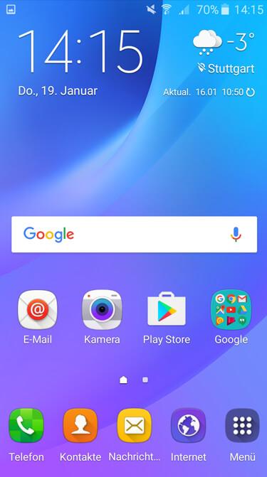 Samsung Galaxy J3 Homescreen