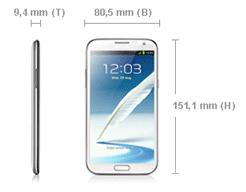 Samsung Galaxy Note 2 Abmessungen
