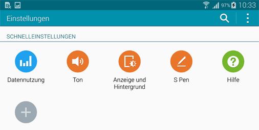 Schnelleinstellungen beim Samsung Galaxy Note 4