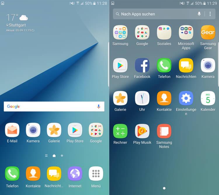 Homescreen und App-Menü Samsung Galaxy Note 7