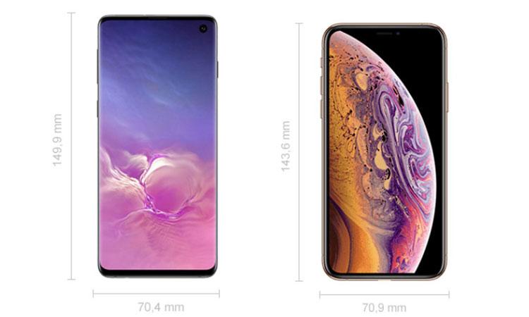 Samsung Galaxy S10 und iPhone XS Abmessungen