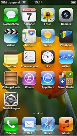 iPhone 5 App Menü Screenshot