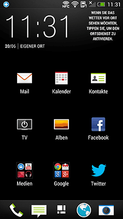 HTC One App Menü Screenshot