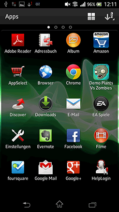 App Menü Sony Xperia T