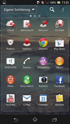 App Menü Sony Xperia Z