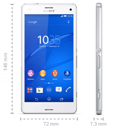 Sony Xperia Z3 Compact Abmessungen