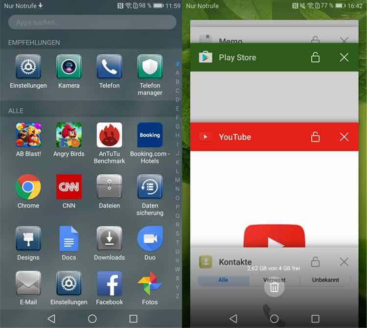 Huawei P10: App-Drawer und Task-Manager