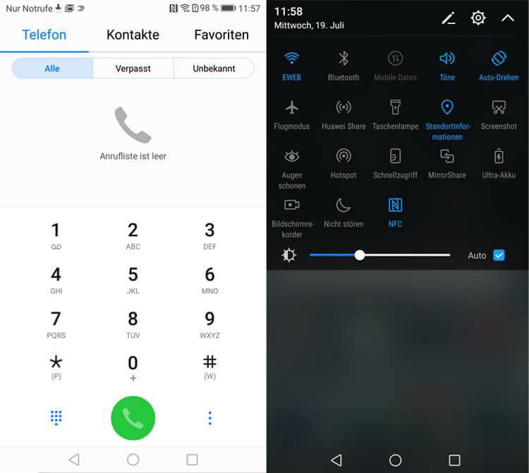 Huawei P10: Telefonie-App und Schnell-Einstellungen