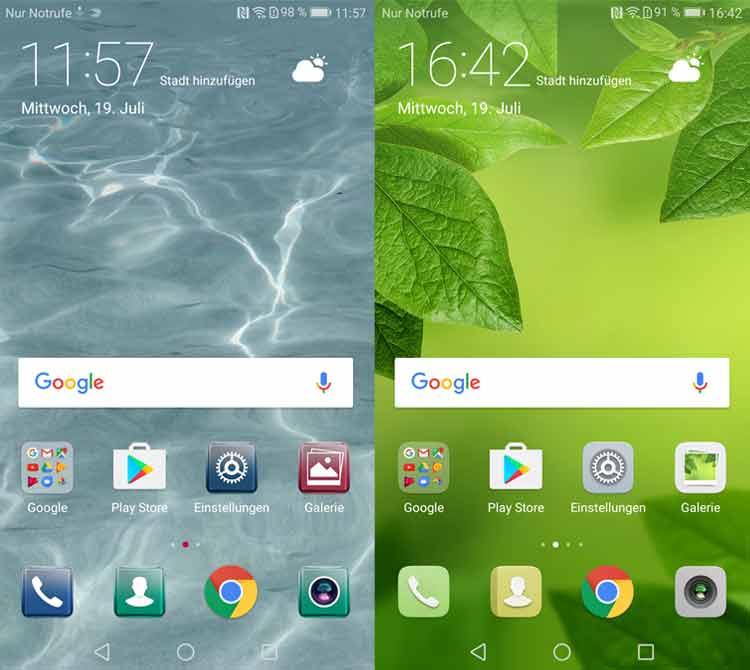 Huawei P10 Startbildschirm in zwei Stilen
