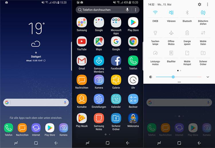 Samsung Galaxy S8: Startbildschirm, App-Drawer und Benachrichtigungszeile mit Menü